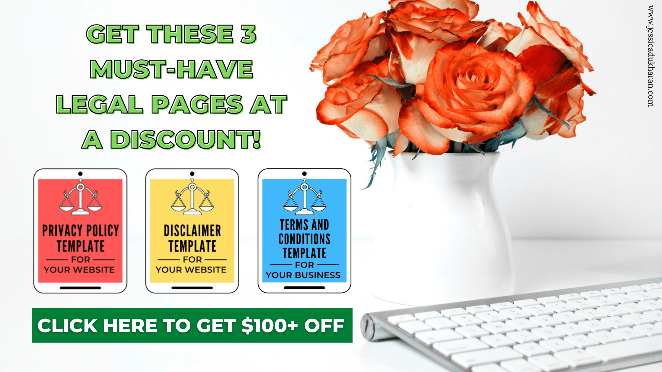Get these 3 must-have legal pages at a discount! Click here to get $100+ off