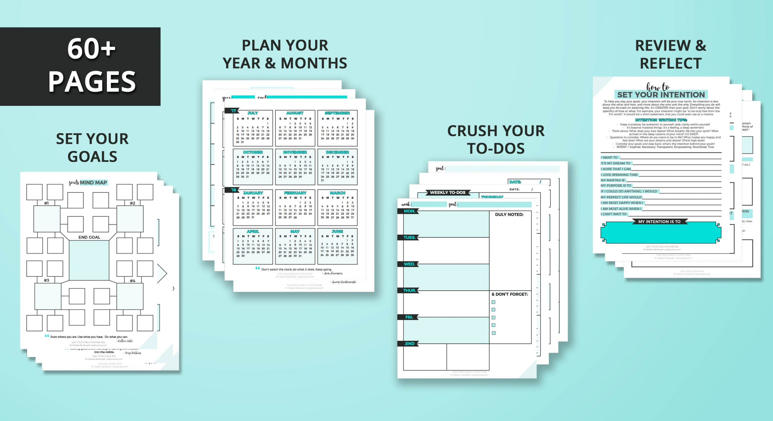 Slay Your Goals Planner 60 Pages