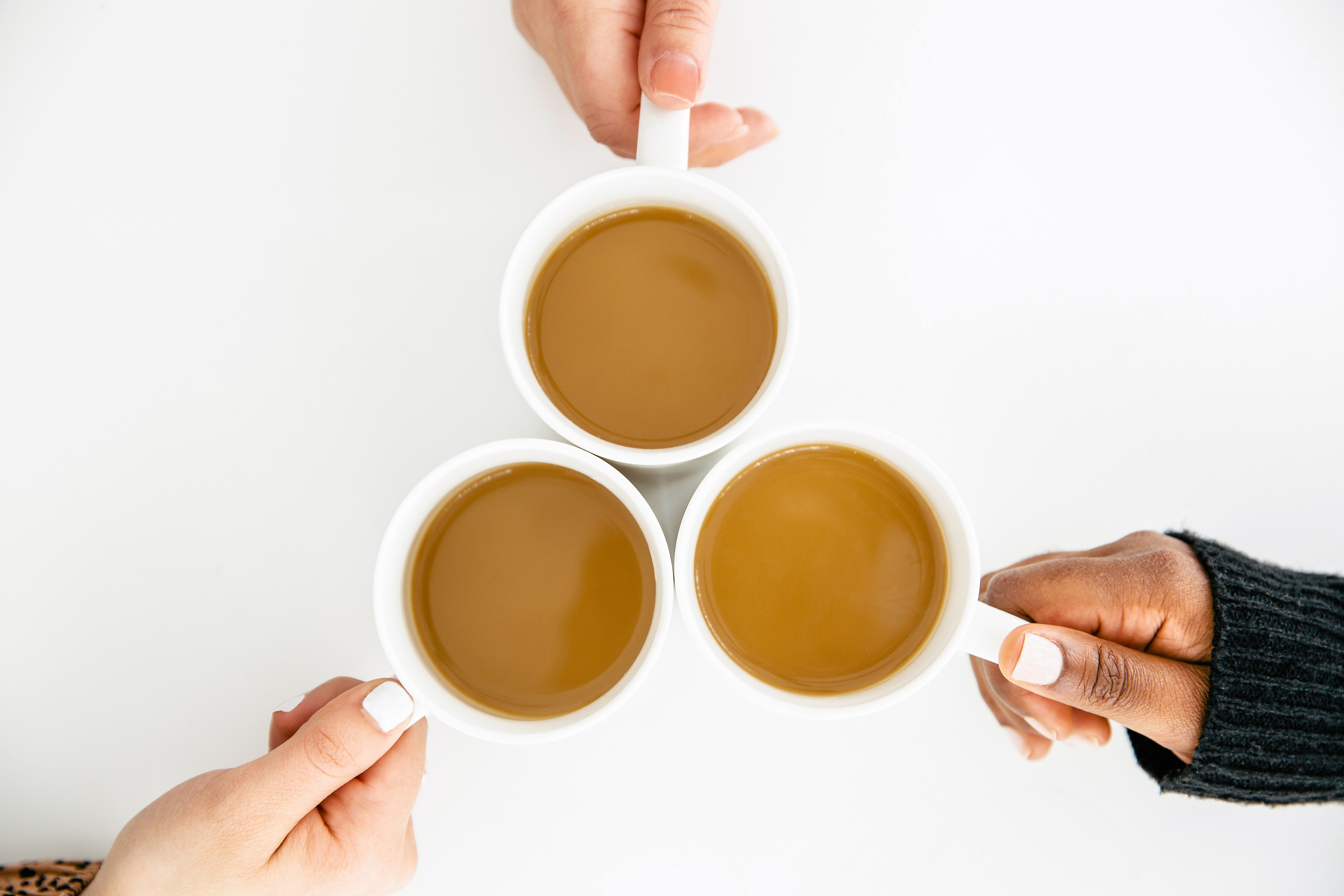 three hands and cups of coffee