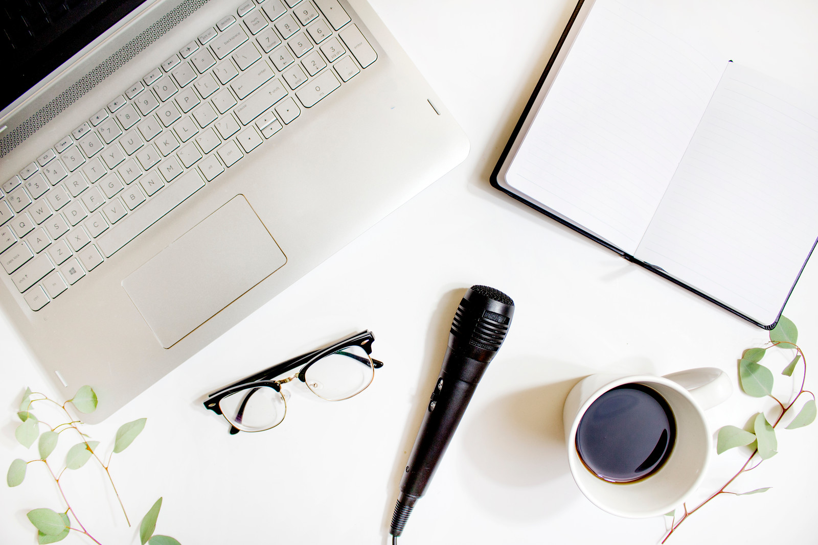 laptop, glasses, microphone, notebook, cup of coffee