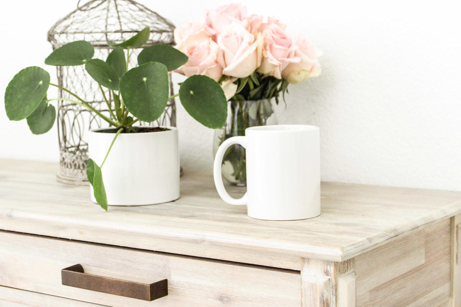 plant mug flowers dresser