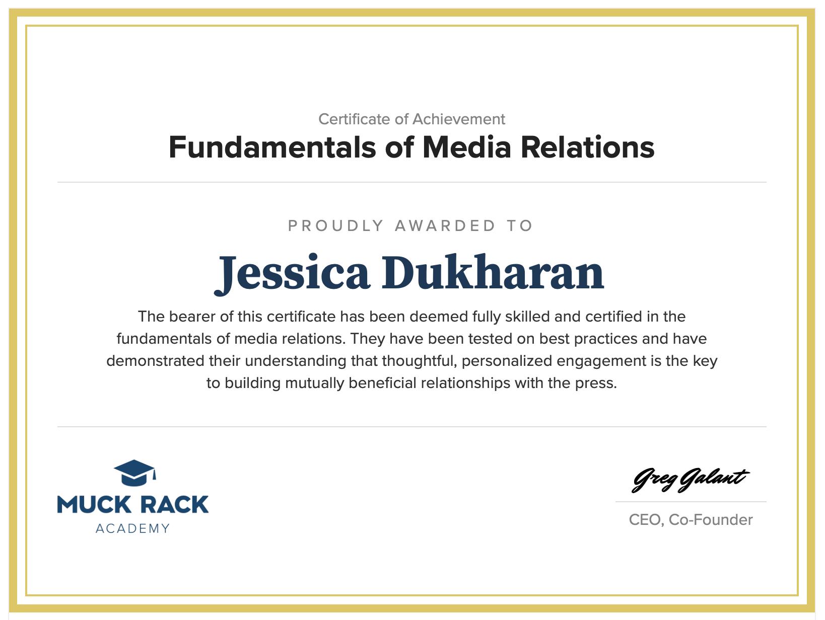 Certificate of Achievement Fundamentals of Media Relations Jessica Dukharan
